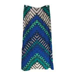 eci Blue and Green Geometric Print Maxi Skirt